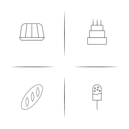 Food And Drink linear simple vector icon set.Outline icons Ilustração