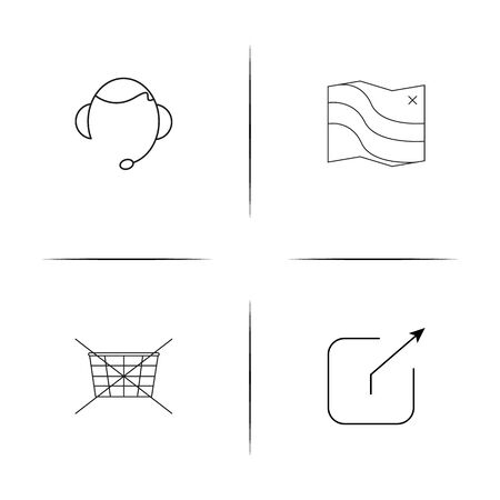 Interface linear simple vector icon set.Outline icons