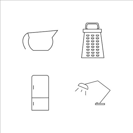 Home Appliances simple linear icon set.Simple outline icons Vettoriali