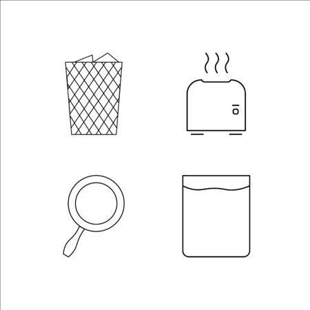 Home Appliances simple linear icon set.Simple outline icons Çizim