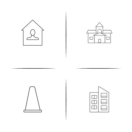 Buildings And Constructions linear simple vector icon set.Outline icons