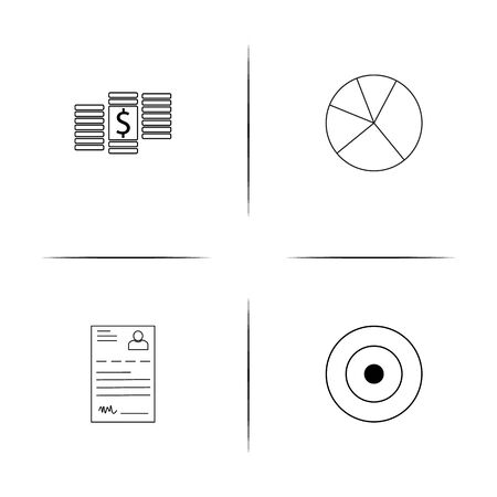 Business simple linear icon set. Simple outline icons