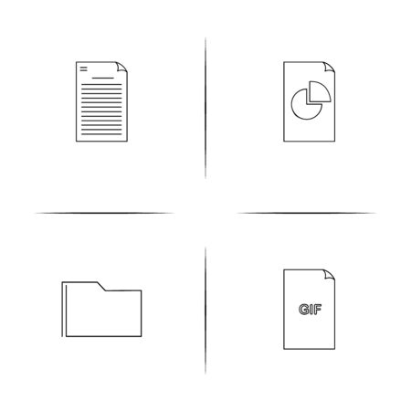Files And Folders, Sign simple linear icon set. Simple outline icons