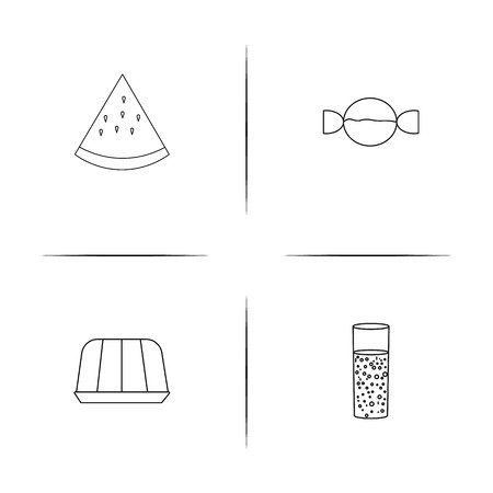 Food And Drink simple linear icon set. Simple outline icons