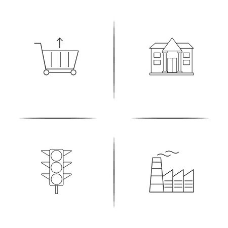 Industry simple linear icon set. Simple outline icons. Vettoriali