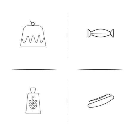 Food And Drink simple linear icon set. Simple outline icons.