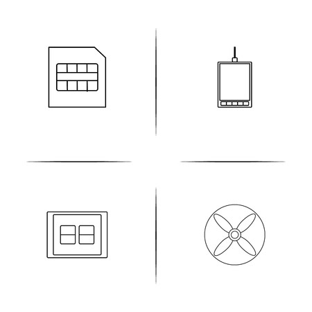 Devices simple linear icon set. Simple outline icons.