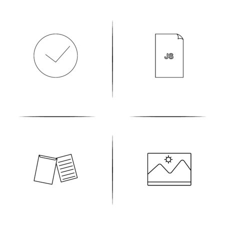 Files And Folders, Sign simple linear icon set. Simple outline icons.
