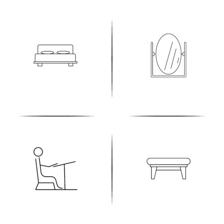Furniture simple linear icon set. Simple outline icons.