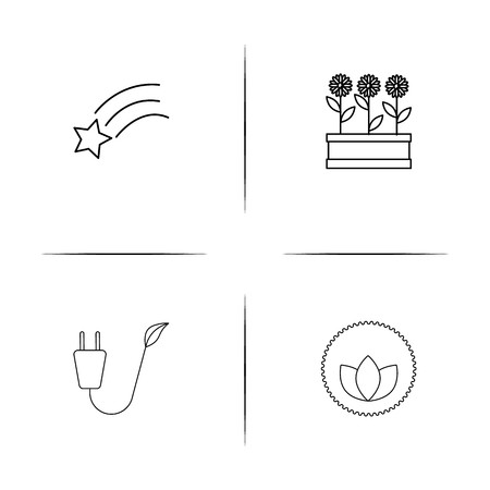 Nature simple linear icon set.Simple outline icons