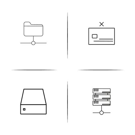 Internet Technologies simple linear icon set.Simple outline icons