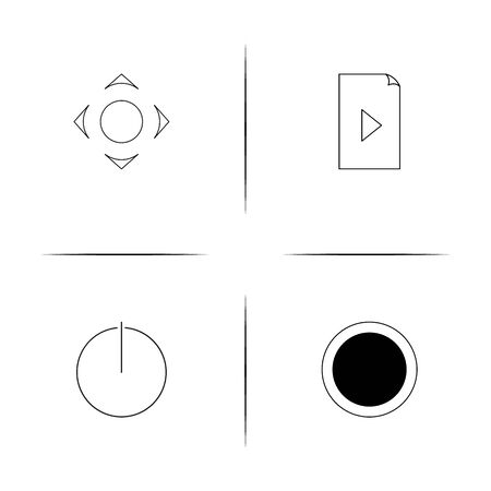 Buttons simple linear icon set.Simple outline icons