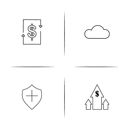 Business simple linear icon set.Simple outline icons Иллюстрация
