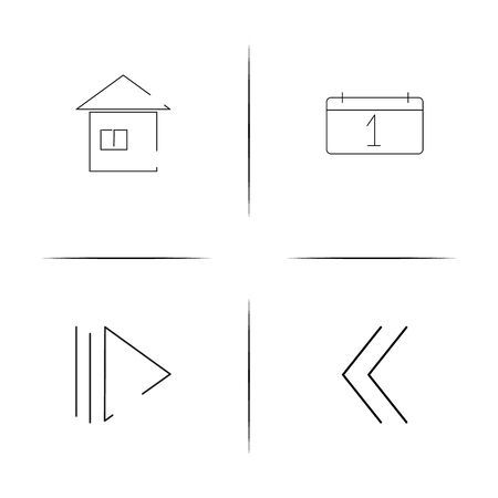 Interface simple linear icon set.Simple outline icons Illustration