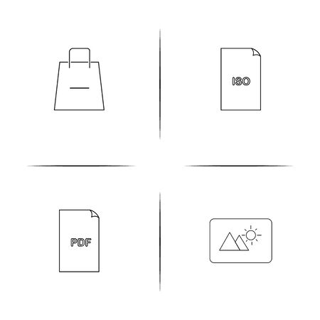 Files And Folders, Sign simple linear icon set.Simple outline icons 일러스트