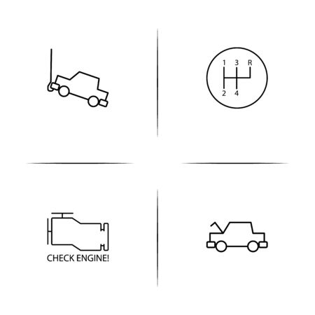 Cars And Transportation simple linear icon set.Simple outline icons