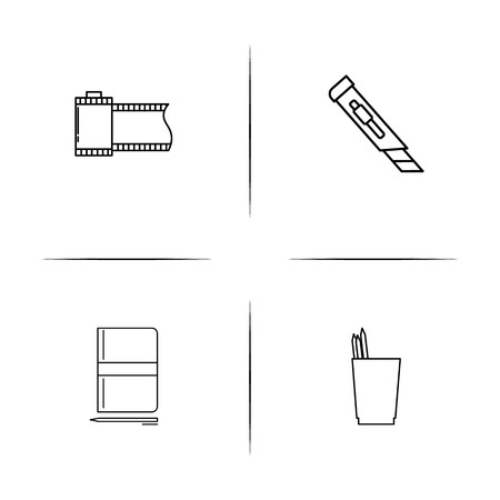 Creative Process And Design simple linear icon set.Simple outline icons Vettoriali