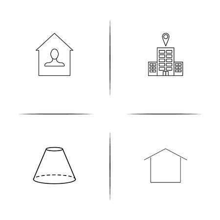 Buildings And Constructions simple linear icon set.Simple outline icons Ilustrace