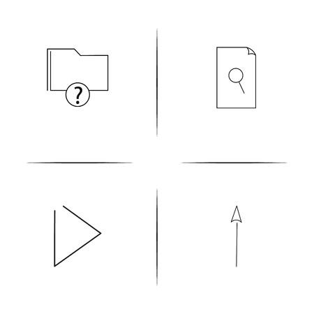 Archivos y carpetas, firme conjunto de iconos lineal simple. Iconos de esquema simple Foto de archivo - 97551845