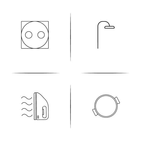 Home Appliances And Equipment simple linear icon set.Simple outline icons Vector illustration.