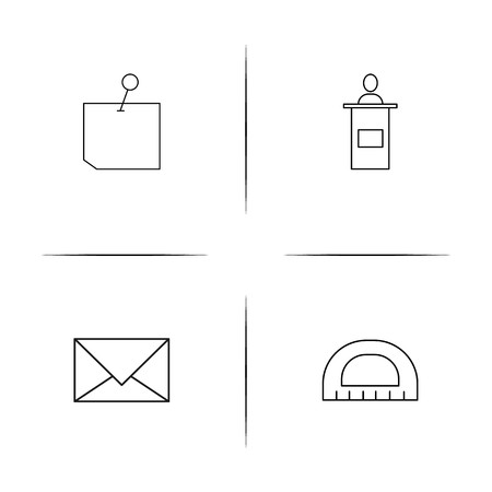 Office equipment simple linear icon set. Simple outline icons