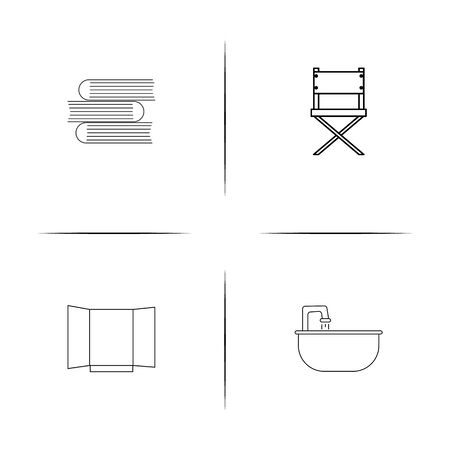 Furniture simple linear icon set. Simple outline icons