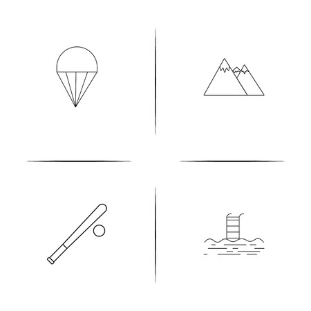 Sport Fitness And Recreation simple linear icon set. Simple outline icons