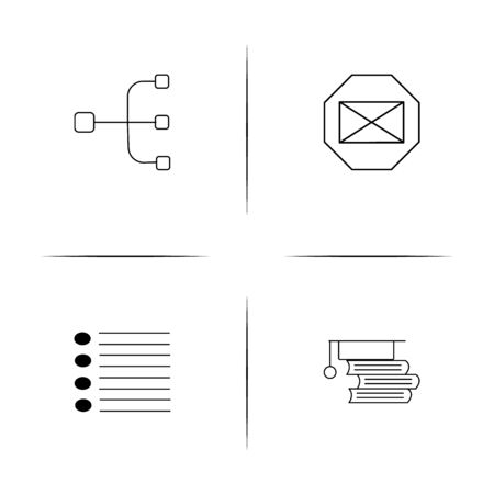 Office simple linear icon set.Simple outline icons