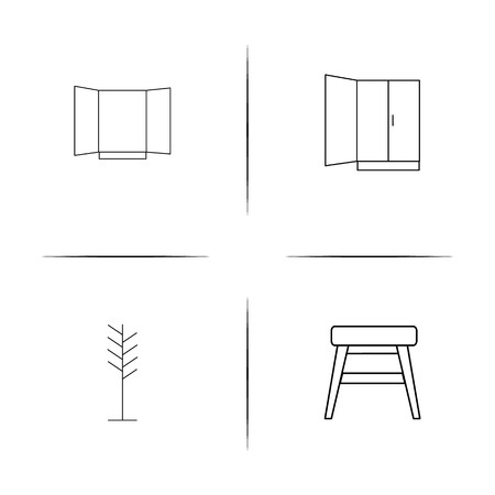 Furniture simple linear icon set.Simple outline icons