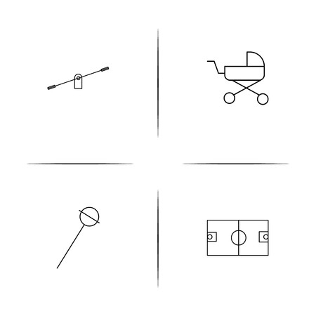 Children themed simple linear icons set