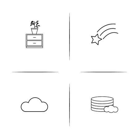 Nature simple linear icons set. Outlined vector icons Çizim