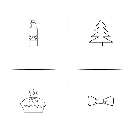 Holidays simple linear icons set. Outlined vector icons Archivio Fotografico - 97868800