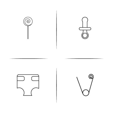 Baby, Kid And Newborn simple linear icons set. Outlined vector icons