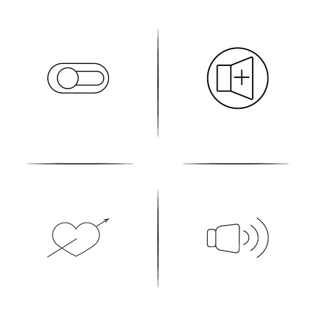 Buttons simple linear icons set. Outlined vector icons