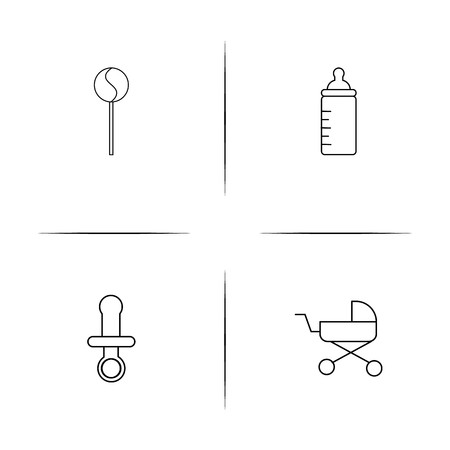 Baby, Kid And Newborn simple linear icons set. Outlined vector icons Stok Fotoğraf - 97875303