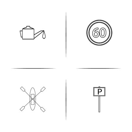 Cars And Transportation simple linear icons set. Outlined vector icons Çizim