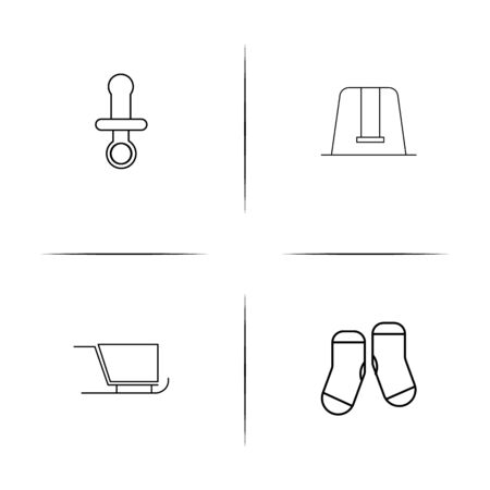 Baby, Kid And Newborn simple linear icons set. Outlined vector icons Stok Fotoğraf - 97868876