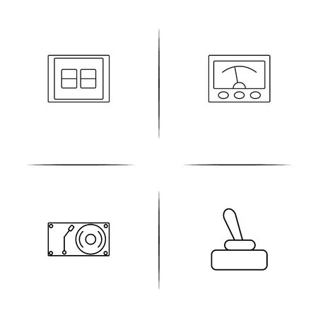 Electrical devices simple linear icons set Illustration