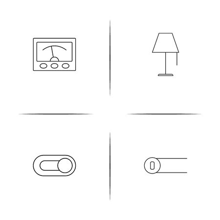 Electrical simple linear icons set. Outlined vector icons Vector Illustration