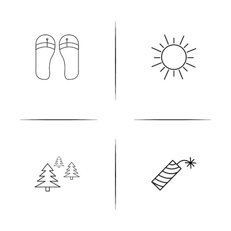 Nature simple linear icons set. Outlined vector icons Illustration