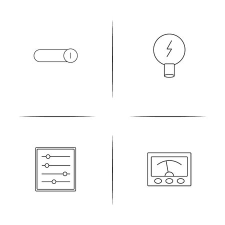 Electrical simple linear icons illustration