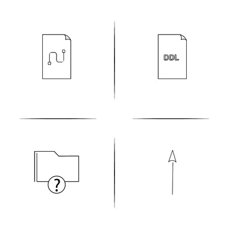 Files And Folders, Sign simple linear icons set. Outlined vector icons Foto de archivo - 103190332