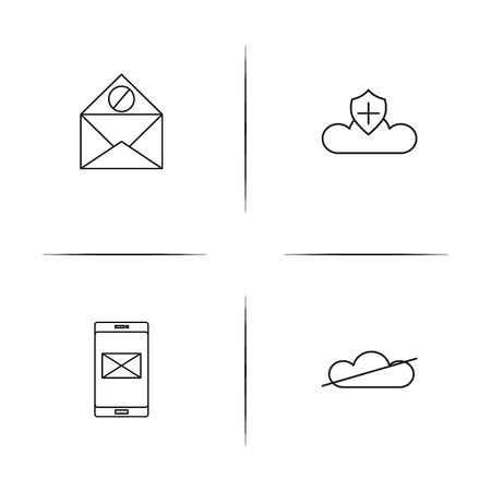 Cyber Security simple linear icons set. Outlined vector icons