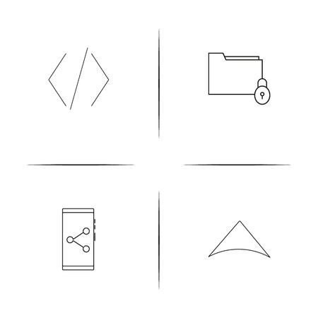 Files And Folders, Sign simple linear icons set like smartphone and code. Outlined vector icons
