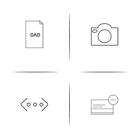 Files and folders. Sign simple linear icons set. Outlined vector icons