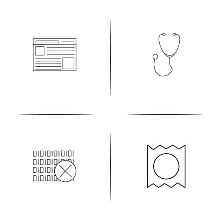 Healthcare And Medical simple linear icons set. Outlined vector icons