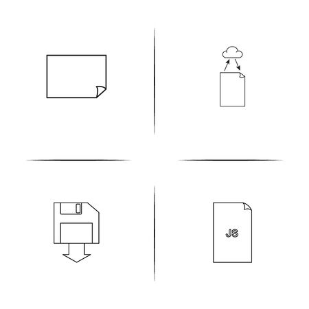 Files And Folders, Sign simple linear icons set with diskette, and cloud file. Outlined vector icons