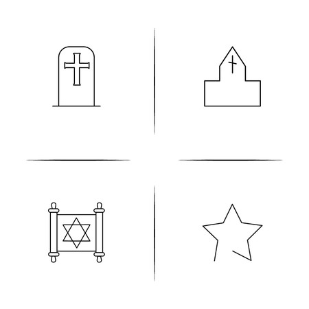 Religion simple linear icons set. Outlined vector icons Illustration
