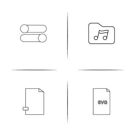 Files And Folders, Sign simple linear icons set. Outlined vector icons