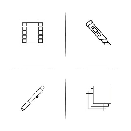 Creative Process And Design simple linear icons set. Outlined vector icons Ilustrace